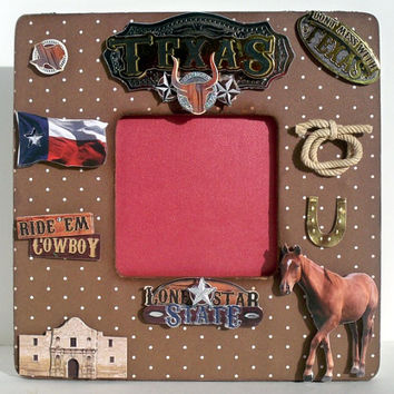 Vacation Frame - Don't Mess With Texas - Lone Star State Picture Frame - Brown Painted Distressed Wood Photo Frame