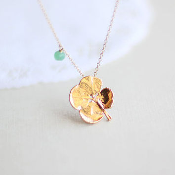 Lucky Gold Clover Necklace  surreal gold clover with by petitor