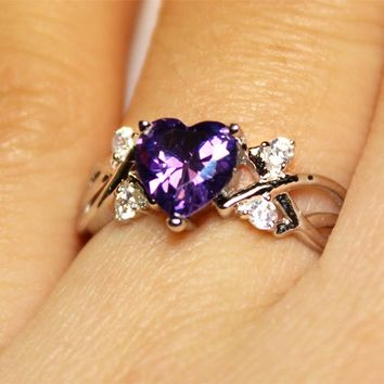 Amethyst (Purple) Heart Shaped Ring on Hand 2 - Beautiful Promise Rings