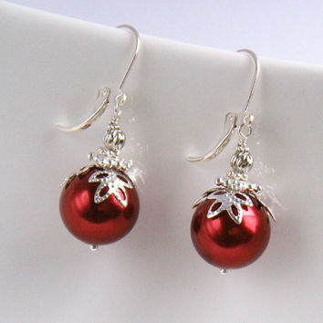 Red Christmas Earrings, Christmas Ornament Earrings, Holiday Earrings, Red and Silver, Cocktail Party - Red Christmas Ball Earrings