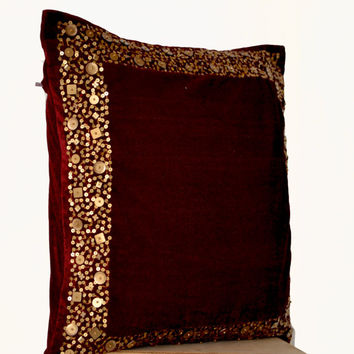 Memorial Day SALE Velvet Throw Pillows -Maroon Velvet cushion with gold sequin boarder -sequin bead pillow -16X16 -Dark red pillow - gift pi
