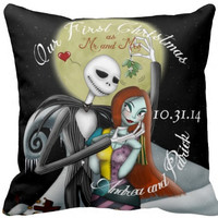 Nightmare Before Christmas Personalized Wedding/Engagement Throw Pillow