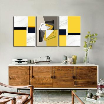 Yellow and Grey Posters And Prints Wall Art Canvas Painting Wall Pictures For Living Room Nordic Marble Picture Decoration