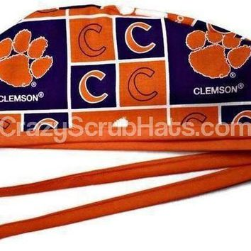 Men's Unlined Surgical Scrub Hat Cap in Clemson Tigers Squares
