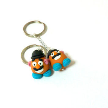 Mr potato head keychain, keyring, toy story, handmade polymer clay, geek gift
