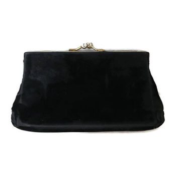 Vintage Velvet Evening Bag, Black Clutch Purse, 1950s Women's Handbag