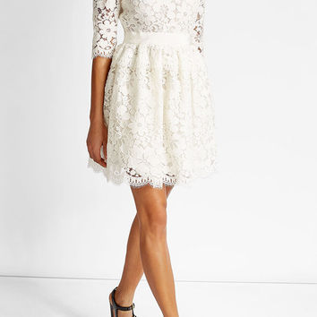 Lace Mini Dress with Cotton - Alexander McQueen | WOMEN | US STYLEBOP.COM