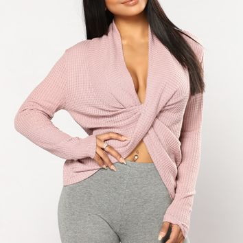 Snug As A Bug Waffle Knit Top - Mauve
