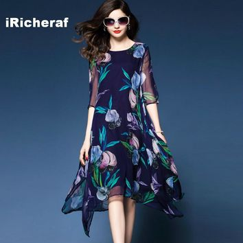 iRicheraf Loose Long Floral Printed Chiffon Dress A-line Three-quarter Sleeve Summer Midi Dresses Plus Size Women Clothing 3XL