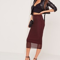 Missguided - Mesh Overlay Midi Skirt Burgundy