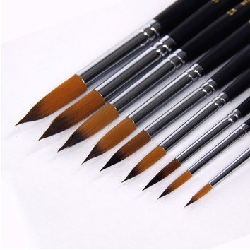 9 Nylon Paint Brushes Set Oil Painting