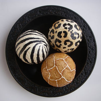 Hand Painted Exotic Animal Print Decorative Art Decor Balls Zebra Giraffe Set of 3