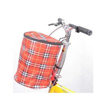 New Bike Bicycle Front Folded Handlebar Canvas Storage Basket Carrier Red