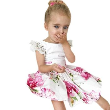 Toddler Kids Girls Clolthes Lace Floral Print Princess Dress+Headband 2Pcs Sets Summer Petal Sleeve Cute Baby Girls Sundress