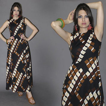 Vintage 70s GEOMETRIC MAXI DRESS / Cubist Print Dress / Black, Brown, Tan Honeycomb Sleeveless Sundress / Hawaiian Summer Dress / Medium