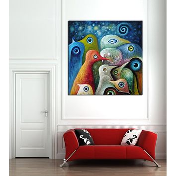 Multi-Color Abstract Birds Painting Canvas Print Picture Modern Mural Art Home Living Office Wall Decor