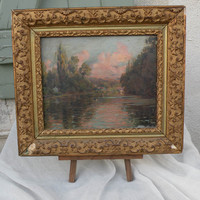 French antique oil painting on board, French antique impressionistic landscape painting, antique French paitning, original French art