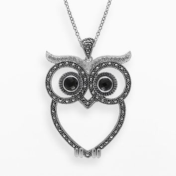 Lavish by TJM Sterling Silver Onyx & Crystal Owl Pendant - Made with Swarovski Marcasite (Stone/Onyx/Silver)