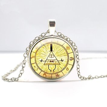 Drama Gravity Falls Mysteries BILL CIPHER WHEEL Time Gems Pendant Bronze Silver Color Round glass Necklace