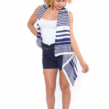 """Flyaway"" Striped Sleeveless Cardigan (Navy)"