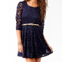 Abstract Pattern Lace Dress