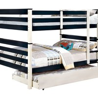 Lorren collection full over full blue and white finish wood bunk bed with twin trundle pull out