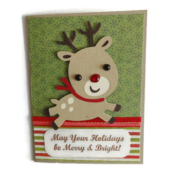 Christmas Card Reindeer Christmas Card Kids Christmas Card