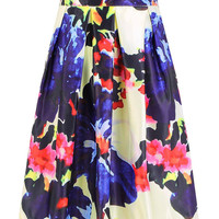 Multicolor Floral Printed Full Skirt