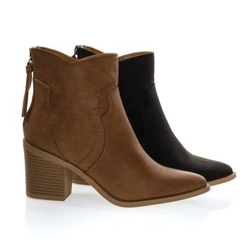 Lighting Tan Brown By Soda, Women's Cowboy Ankle Booties w Chunky Block Stack Heel, Zipper Tassel