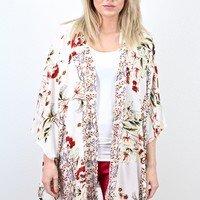 Contrasting Florals Side Slit Kimono {Ivory} EXTENDED SIZES