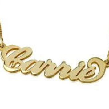 Solid Yellow 14k Gold Name Necklace Custom made 4U Carrie style .8 mm UPGRADED THICKNESS  Personalized Jewelry My name necklace monogram