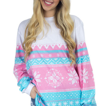 Lauren James: Snowflake Christmas Sweater Tee {Pink}