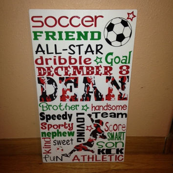Personalized Wooden Teen Boy Soccer Subway Art 12x20""