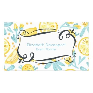 Yellow Lemons & Blue Flowers Event Planner Business Card