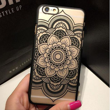 Beautiful Floral Henna Paisley Mandala Palace Flower Phone Cases Cover For iPhone 7 5 5S SE 6 6S 6 Plus 6S Plus