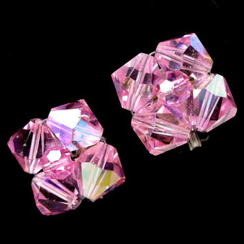 1960s Pink Aurora Borealis AB Crystal Earrings, Pink AB Cluster Clip Ons, Mad Men Astronaut Wives Club Style