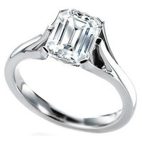 AMAZING 4.40CT WHITE EMERALD 925 STERLING SILVER ENGAGEMENT AND WEDDING RING