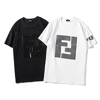 Fendi 2019 tide brand new double F letter sequin short-sleeved T-shirt