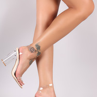 Qupid Transparent Ankle Strap Open Toe Chunky Lucite Heel