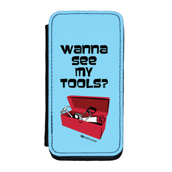 Sassy - Wanna See My Tools #10089 Premium Faux PU Leather Case for iPhone 5C by Sassy Slang
