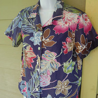 Vintage 80s Jamaica Bay Boxy Hawaiian Tropical Print Shirt Size Small