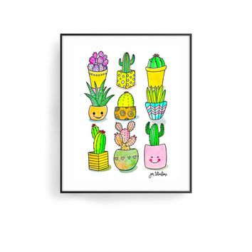 'Happy Cacti' Art Print