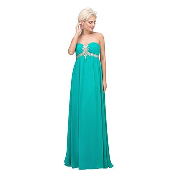Pleated Strapless Studded Long Jade A Line Prom Gown Empire Waist