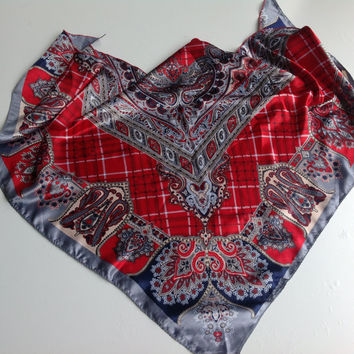 Red Paisley scarf, Gift for Mother in law,  Hip coverup Best Friend gift Office Neckerchief Coworker Gift Red Floral Chemo head scarf, Shawl