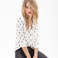 White Abstract Diamond Printed Button Loose Long Sleeves Chiffon Top
