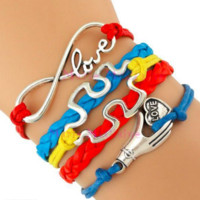 Love Autism Awareness Puzzle Hope Red Yellow Blue Green Custom