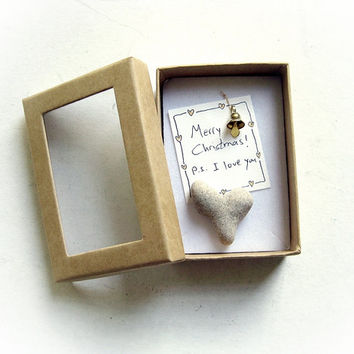Unique Christmas Card - a heart shaped rock in a box