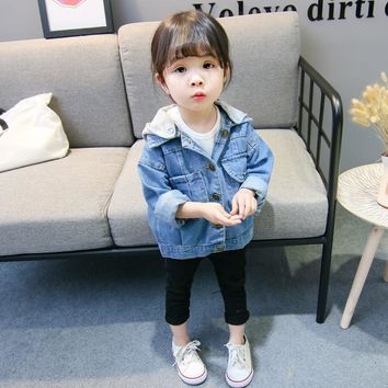 Trendy Kids Denim Jacket For Girls Fashion Causal Baby Boys Clothes Long Sleeve Jean Coat Children Outerwear Toddler Hoded Jackets AT_94_13