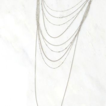 Layered Chain Necklace Silver
