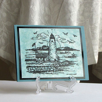 Lighthouse Nautical Card, Scenery Card,  hand stamped, embossed, guy card, masculine, teal blue, handmade